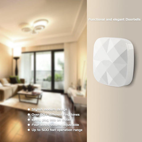 Wireless Waterproof Diamond-Style Doorbell / Panic Button, H2 Series, 52 Chimes, White - 1,000 Ft Range