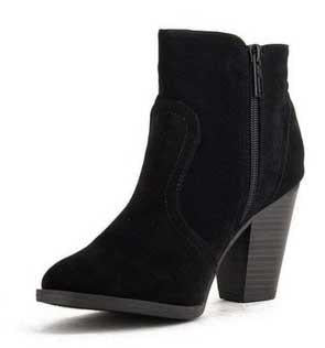 Heather-34 Faux Suede Chunky Heel Ankle Booties - Peazz.com