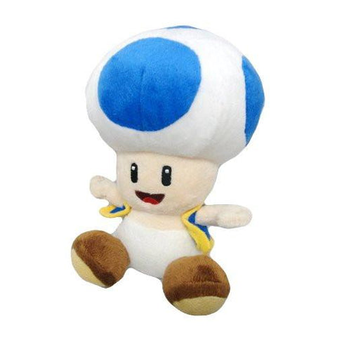 "Nintendo Official Super Mario Blue Toad Plush, 6"" - Peazz.com"