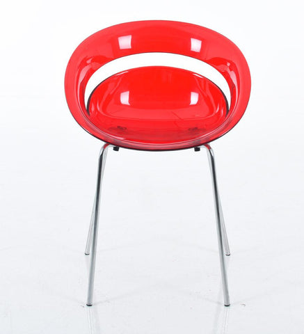 Mochi Furniture Polycarbonate Round Dining Chair with Chrome Legs - Red (Set of 4)