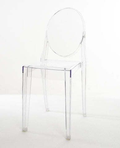 Mochi Furniture Transparent Polycarbonate Ghost Dining Armless Chair - Clear (Set of 4) - WarehouseSpot