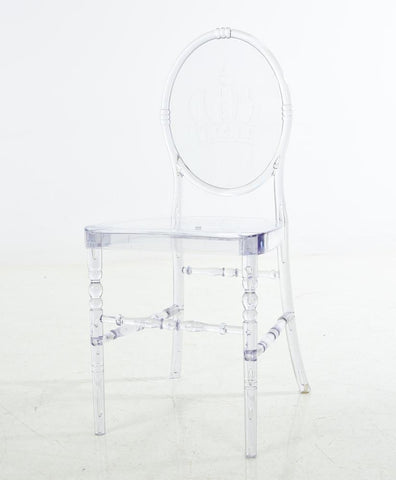 Mochi Furniture Polycarbonate Armless Accent / Dining Chair - Clear (Set of 2) - WarehouseSpot