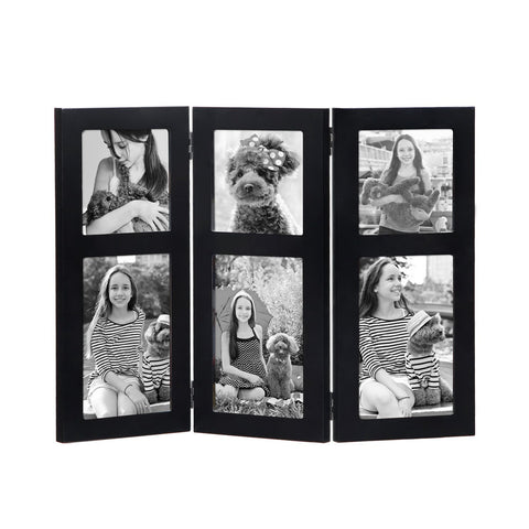 Furnistars Black Wood Hinged Folding Table Desk Top Picture Photo Frame Collage - Peazz.com