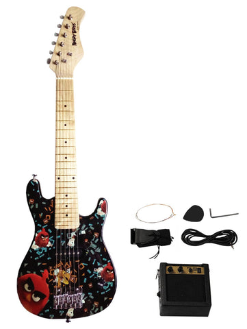 "Angry Birds Flock On 30"" Electric Guitar Set with 5W Amplifier - Black - WarehouseSpot"