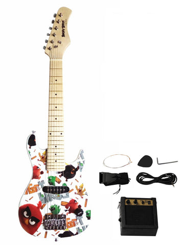 "Angry Birds Flock On 30"" Electric Guitar Set with 5W Amplifier - White - WarehouseSpot"