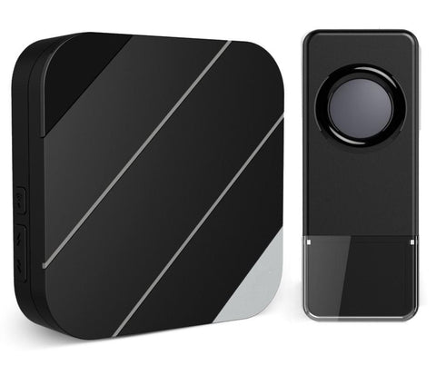 Wireless Waterproof Doorbell / Panic Button, B15 Series, 52 Chimes, Black - 1,000 Ft Range