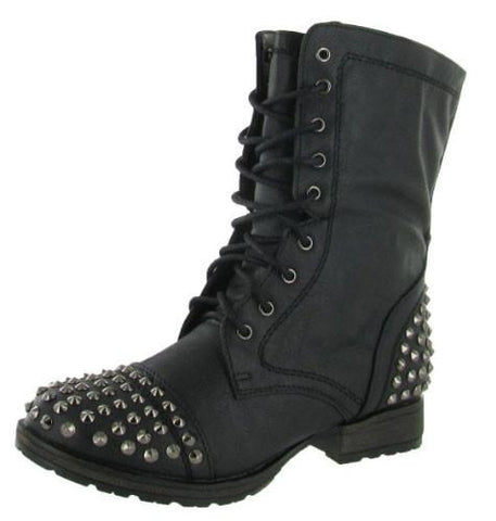 GEORGIA-28 Studded Lace Up Mid Calf Military Combat Boot - Peazz.com