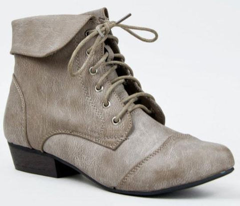 INDY-11 Lace Up Oxford Cuffed Ankle Bootie - Peazz.com