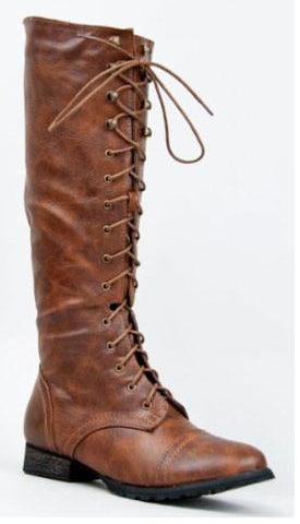 OUTLAW-13 Knee High Stacked Heel Military Combat Boot - Peazz.com