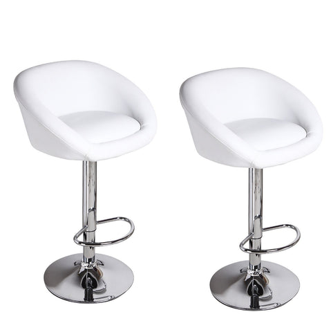 Furnistars White Bar Stools (Set of two) - Peazz.com