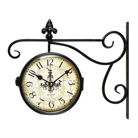 Furnistars Balck Iron Vintage-Inspired Double-Sided Wall Clock with Scroll Wall Mount - Peazz.com