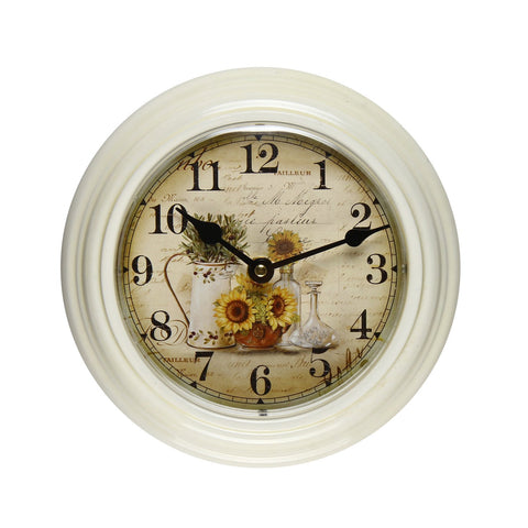 Furnistars White Iron Vintage-Inspired Round Wall Clock - Peazz.com