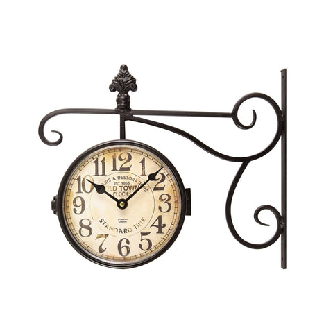 "Furnistars Black Iron Vintage-Inspired Double-Sided Wall Clock with Scroll Wall Mount ""Old Town Clocks"" - Peazz.com"