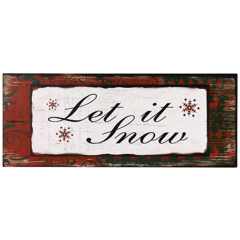 "Furnistars Decorative Wood Wall Hanging Sign Plaque ""Let is Snow"" - Peazz.com"