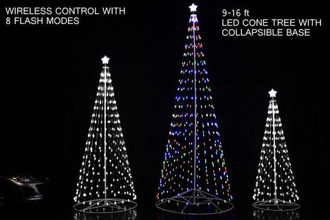 HomeBrite 61501 144 R/C Outdoor LED Cone Tree w/collapsible base Trees - WarehouseSpot
