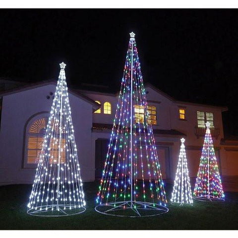 HomeBrite 61502 144 R/C Outdoor LED Cone Tree w/collapsible base Trees - WarehouseSpot