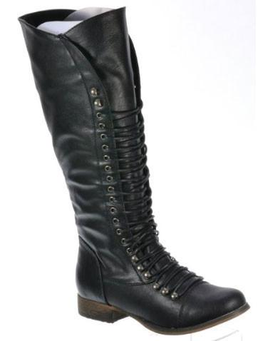 Georgia-35 Tall Combat/Riding Lace Up w/ Zipper Flat Boot - Peazz.com