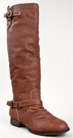 OUTLAW-81 Fashion Basic Knee High Classic Buckle Riding Boot - Peazz.com