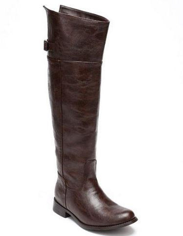 Rider-82 Crinkle Leatherette Round Toe Riding High Boot - WarehouseSpot