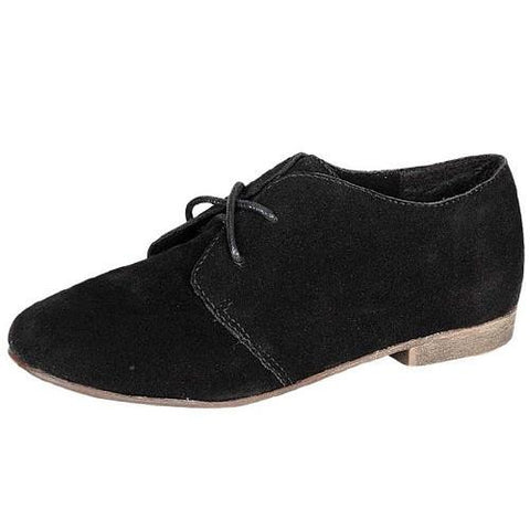 Sandy-31W Vegan Suede Round Toe Lace Up Oxford Shoes - Peazz.com
