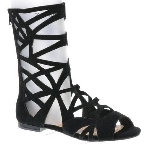 SOLO-04 Cut Out Mid Calf Gladiator Flat Sandal - Peazz.com
