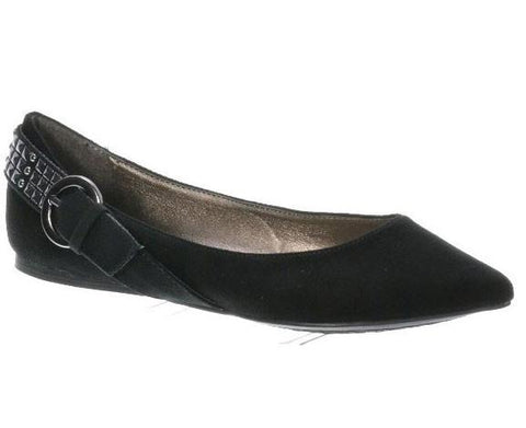 Talia-07 Pointy Toe Buckle + Deco Wrapped Back Counter Flat - Peazz.com