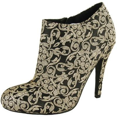 Marrow-01 Embroidered Brocade Fleur Design High Heel Ankle Boot Bootie - Peazz.com - 1