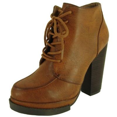 Ponder-01 Lace Up Platform Chunky Heel Ankle Bootie - Peazz.com