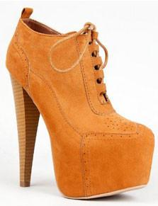 Pratt-02 Platform Wooden High Heel Stiletto Lace Up Oxford Ankle Boot - Peazz.com