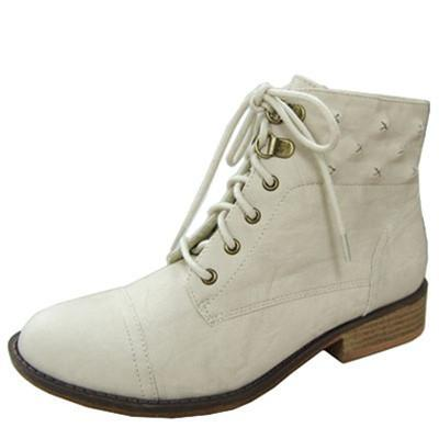 Vinci-07 Round Toe Lace Up Military Ankle Bootie - Peazz.com