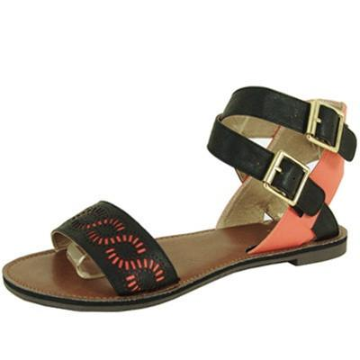 Athena-577A Two Tone Perforated Open Toe Flat Sandal - WarehouseSpot