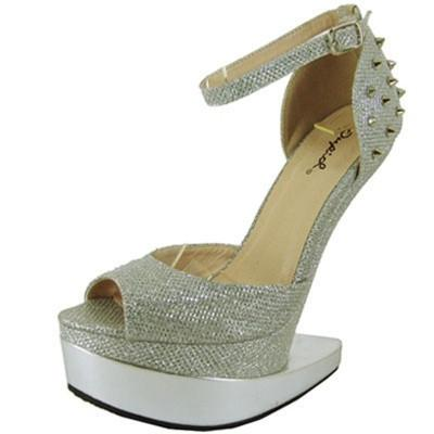 Bizarre-01 Glitter Spike Heel Less Ankle Strap Curved Wedge - WarehouseSpot