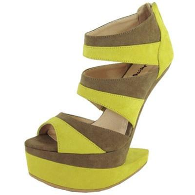 Bizarre-04 Two Tone Heel Less Curved Wedge - WarehouseSpot