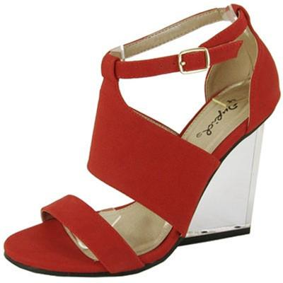 Burton-01 Strappy Open Toe Lucite Wedge - WarehouseSpot