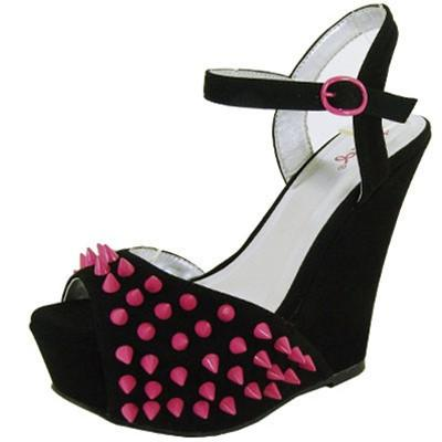 Finder-154 Studded Spike Peep Toe Wedge - WarehouseSpot
