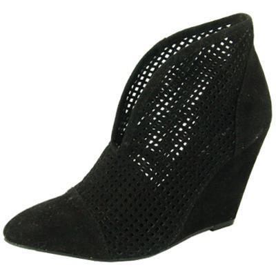 Maddox-11 Perforated Pointy Toe Wedge Bootie - WarehouseSpot