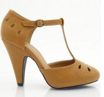 Nadine-88X Vintage Inspired Vegan Suede Round Toe T-Strap Ankle Strap Cut Out Pump - Peazz.com