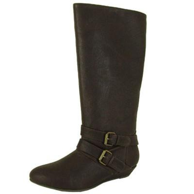 Nesha-88 Buckle Knee High Wedge Boot - Peazz.com