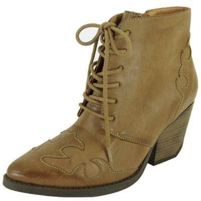 Newton-08 Pointy Toe Lace Up Cowboy Ankle Bootie - Peazz.com