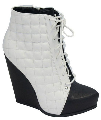 Obstacle-03 Two Tone Quilted Lace Up Wedge Bootie - Peazz.com