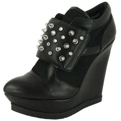 Parlane-14 Leatherette Studded Spike Velcro Wedge Sneaker - Peazz.com