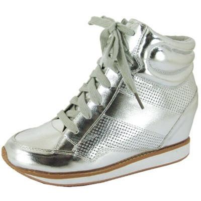 Patton-02 Metallic High Top Lace Up Wedge Sneaker - Peazz.com