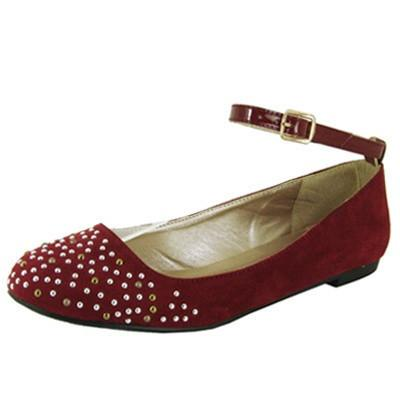 Palmer-92 Studded Ankle Strap Round Toe Ballet Flat - Peazz.com