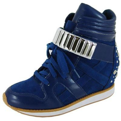 Patton-03 Studded High Top Lace Up Wedge Sneaker - Peazz.com
