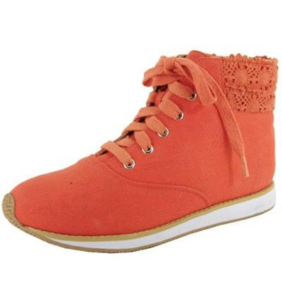 Pippa-07 Crochet Lace Up Round Toe Sneaker - Peazz.com