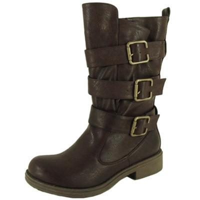 Raggae-01 Buckle Round Toe Mid Calf Boot - Peazz.com
