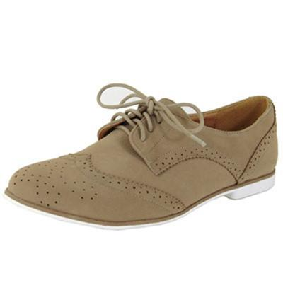 Strip-108 Nubuck Perforated Lace Up Oxford Flat - Peazz.com
