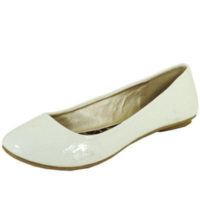 Thesis-92 Classic Round Toe Patent Slip On Basic Comfortable Flat Shoe - Peazz.com