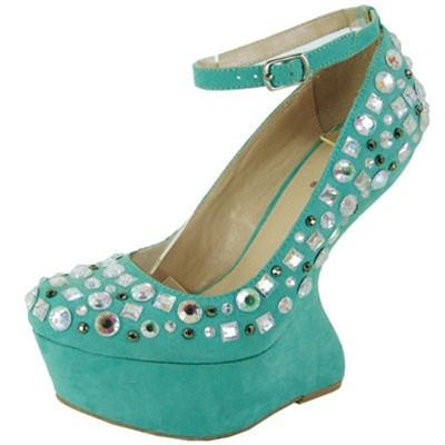 Ting-18 Jeweled Embellished Heel Less Curved Wedge - Peazz.com
