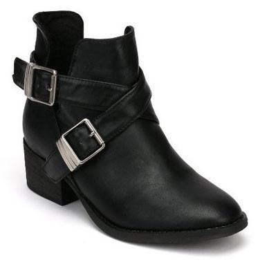 Bronco-11 Leatherette Designer Cut Out Round Toe Ankle Bootie - WarehouseSpot